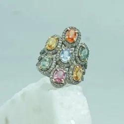 92.5 Sterling Silver Multi Sapphire Gemstone Ring