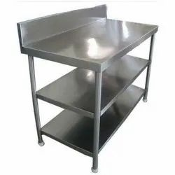 For Restaurant Polished Stainless Steel Work Table With Undershelf, Number of Shelves: 2 Shelves