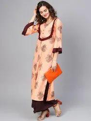 La Firangi Women Peach-Coloured & Brown Peacock Printed Straight Kurta