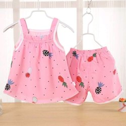 Pink Girls Printed Top And Shorts