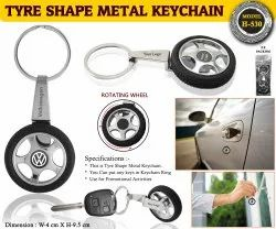 Tyre shape metal keychains