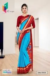 Sky Blue Red Premium Italian Silk Crepe Uniform Sarees For Hospital Staff 1101