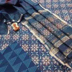 Exclusive New Bagru Ajrakh Hand Block Printed Cotton Dress Material With Kota Doria Dupatta.