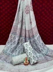 Exclusive New Bagru Hand Block Printed Cotton Dress Material With Chiffon Dupatta.