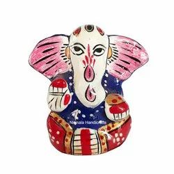 Metal Meenakari Ganesha Statue Enamel Work Indian God Idol Figurine