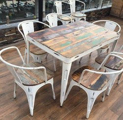 Indesign Furniture 1 Table And 6 Chair Relclaimed Cafe Dining Set, For And Restaurant