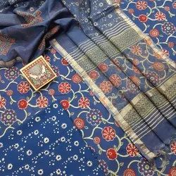 New Latest Attractive Hand Block Printed Cotton Dress  Material With Kota Doria Dupatta.