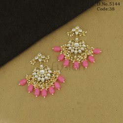 Handmade Party Wear Kundan Hanging Earrings