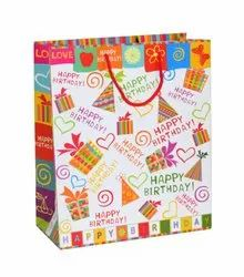 GUJARAT SHOPEE Solid (Matte Laminated) Happy Birthday Greeting On White Paper Bag With Twisted Rope Handle