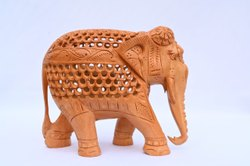 Carved Brown Handmade Wooden elephant for showpiece, For Decoration, Size: 4 To 12