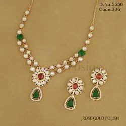 Designer Kundan Wedding Rose Gold Necklace Set
