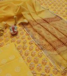 Natural Bagru Ajrakh Hand Block Printed Cotton Dress Material With Kota Doria Dupatta.