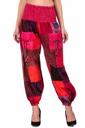 Cotton Pink Patchwork Harem Pants