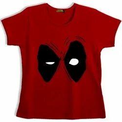 Half Sleeve Round Girls Printed T Shirt