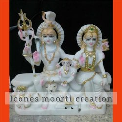 1.3 Feet Marble Shiv Parvati Statue