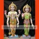 Color Painted Marble Laxmi Narayan Statue