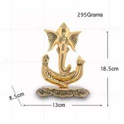 Gold Plated Trunk Ganesh Plate