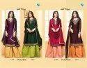 Your Choice Pounds Satin Georgette unique colours and sarara pattern designer suits Catalog