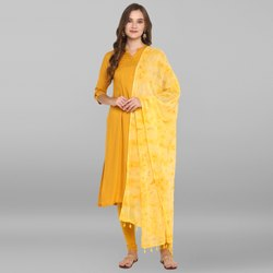 Janasya Women's Yellow Rayon Kurta With Dupatta(SET205)