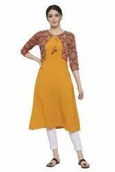 Women Solid Printed Crepe A-line Jacket Kurta(Yellow)