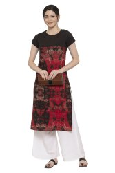 Women Printed  Crepe Straight  Kurta (Red)