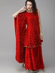 Women Red & Gold Printed Kurti With Sharara & Dupatta