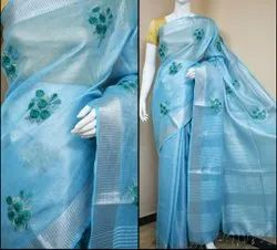 Party Wear Embroidery Ladies Tissue Linen Saree, With Blouse Piece, 6.3m