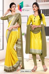 Yellow Beige Premium Italian Silk Crepe Saree For Teachers Uniform Sarees