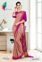 Beige Wine Small Print Premium Italian Silk Crepe Uniform Sarees For Workers