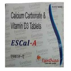 Esenthiaa Calcium Carbonate & Vitamin D3 Tablets, 10x10 Tablet