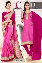 Pink Wine Plain Border Premium Polycotton Cotfeel Saree For Factory Uniform Sarees