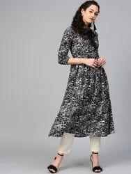 La Firangi Women Black & Off-White Printed A-Line Kurta