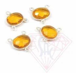 Citrine Quartz Gemstone Stylish Handmade Bezel Connector