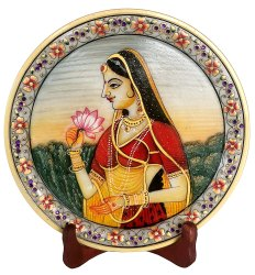 Marble Ragini Painting Plate With Stand Decorative Showpiece