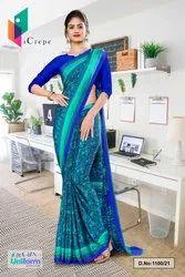Sea Green Blue Paisley Print Premium Italian Silk Crepe Uniform Sarees for Office Wear