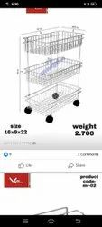 LEXI Stainless Steel Kitchen Trolley, Model Name/Number: Ss Trolly Big, Load Capacity: 60KG