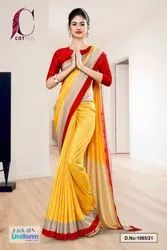 Yellow Red Plain Border Premium Polycotton CotFeel Saree For Student Uniform Sarees 1065