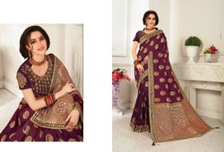 5.5 m (separate blouse piece) Embroidered Banarasi Silk Saree, With Blouse Piece