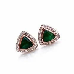 14K Rose Gold Diamond and Emerald Stone Studs Earrings
