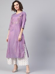 La Firangi Women Lavender & Golden Printed Straight Kurta