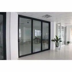 Aluminium Powder Coated Aluminum Sliding Door, For Office