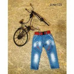 Denim Casual Wear Kids Blue Faded Jeans, Size: 16-20, Handwash