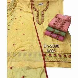 Embroidered Jam Silk Ladies Punjabi Casual Salwar Suit Material