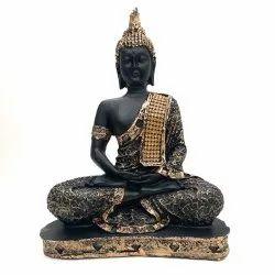 Fatfatiya Black Golden Meditating Lord Gautam Buddha Statue Decorative Showpiece