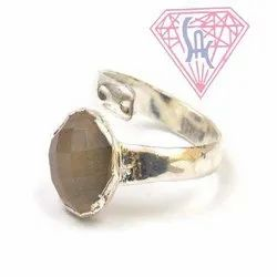 Gray Chalcedony Gemstone Ring with Silver Plated