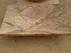 Rectangular Stone Table Top Wash Basin, For Bathroom, 600 X 400 Mm (w X L)
