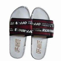 Off White & Maroon Open Toe Men Flip Flops Slipper, Size: 7-10