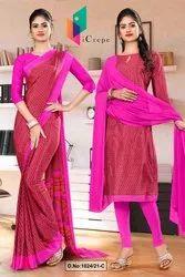 Dark Pink Small Print Premium Italian Silk Crepe Saree for Hotel Uniform Sarees