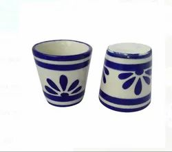 Printed Ceramic Blue Pottery Water Glass
