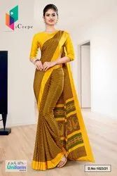 Gold Yellow Small Print Premium Italian Silk Crepe Saree For Institution Uniform Sarees 1023